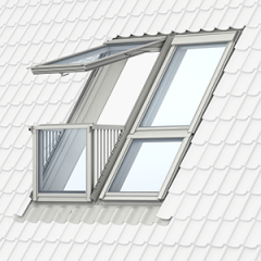 Velux GDL SK19 2066P2 White Painted Cabrio Balcony Bottom Window