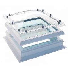 Coxdome Electrical Opening Flat Roof 700x700mm Window With Single Skin Obscure Dome