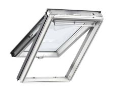 Full interior view of open Velux GGU Centre Pivot White uPVC Roof Window