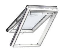 Full interior view of a Velux GPL Top Hung White-Painted Roof Window open slightly
