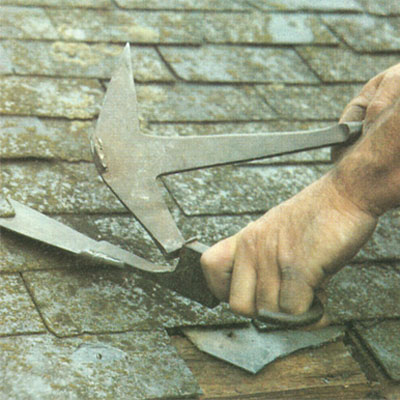 Using a Slating hammer and a Slate ripper