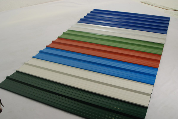 Various coloured roofing sheets