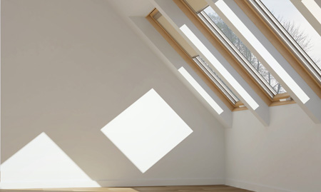 Row of Velux Roof Windows installed in a loft