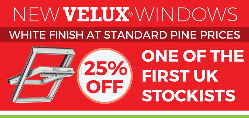 25% Off all new White-finished Velux Roof windows
