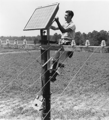 solar panel being installed in 1955.