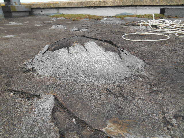 Blisters in a flat roof