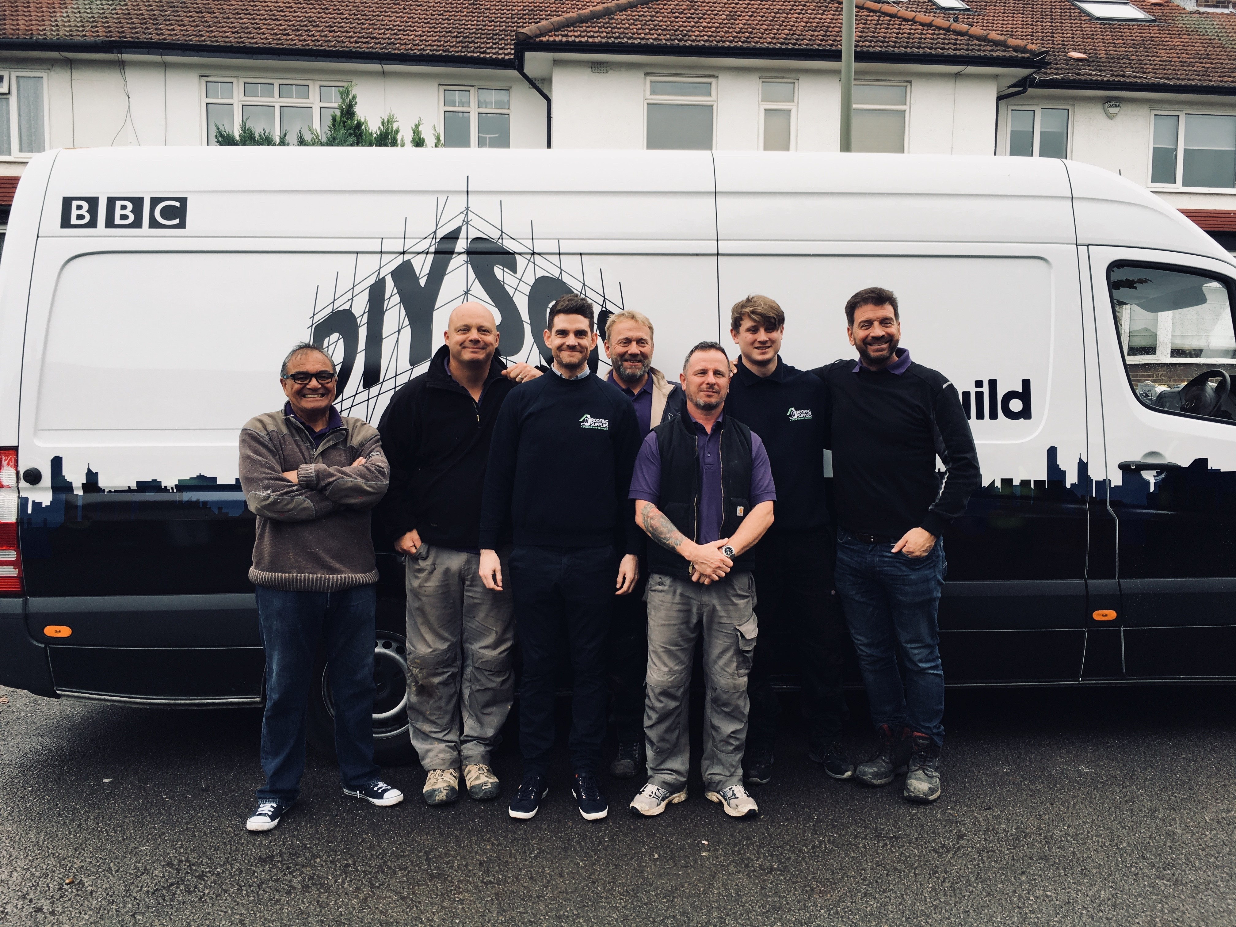 JJ Roofing Supplies staff with DIY SOS Team at The Big Build Barnet's Big Reveal