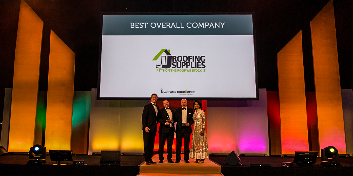 JJ Roofing Supplies Winning Best Overall Company Award at Business Excellence Awards Forum 2018