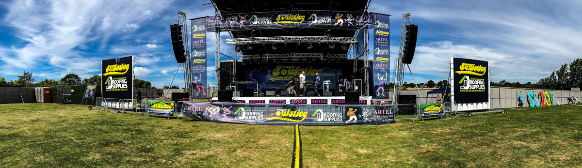 Main stage setup for Summer Soulstice 2018 Sponsored by JJ Roofing Supplies