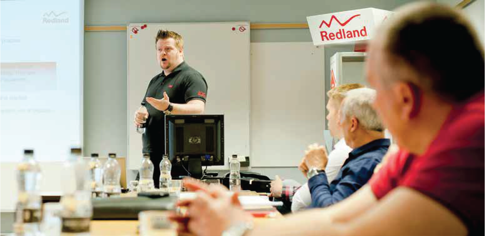 Mat Woodyatt training contractors on Redland Pitched Roof Estimating Course at JJ Roofing Supplies Training Centre