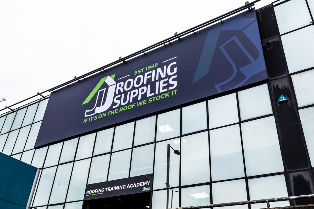 Installed Sign at JJ Roofing Supplies Cricklewood Branch