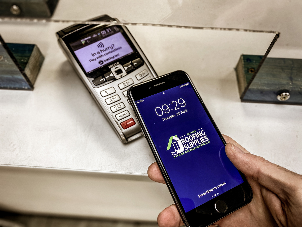 Mobile Phone Contactless Payment at JJ Roofing Supplies